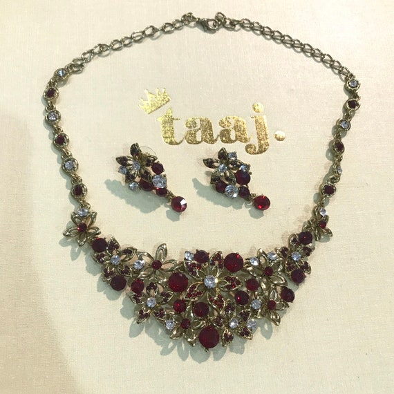 Monte Gold maroon diamanté necklace earrings bridal prom party indian jewellery