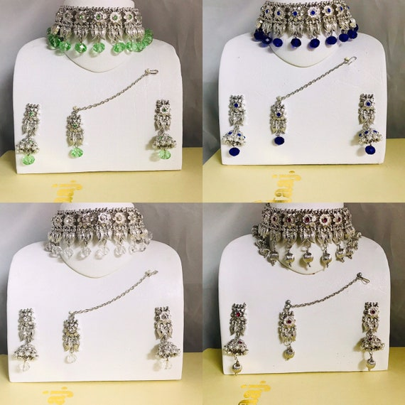 Clara Silver pearl blue green pink choker necklace jhumka earrings tikka set Indian bridal Pakistani jewellery