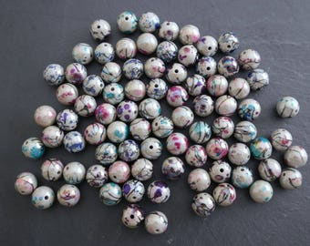 Set of 10 multicolored 12 mm round beads