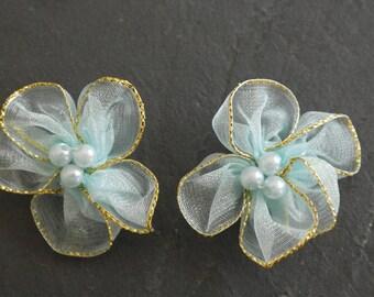 2 flowers light blue color satin for scrap fabric