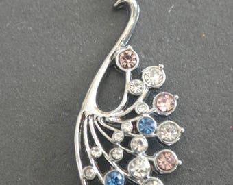 Beautiful Peacock with Rhinestone 4,6 cm pendant