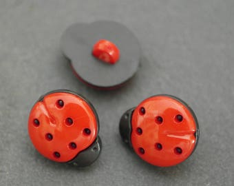 Set of 2 beautiful red and black Ladybird shaped buttons
