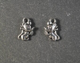 Set of 2 silver mouse charms