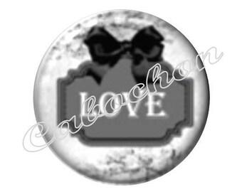 2 cabochons 25mm glass, Love