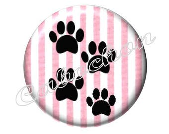 2 cabochons 25mm glass, cat paws, pink and black