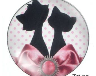 1 cabochon 30mm glass cat, pink and white
