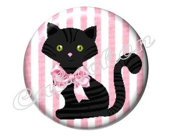 2 cabochons 25mm glass cat, pink and black