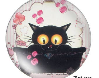 1 cabochon 30mm glass cat, pink ivory and black