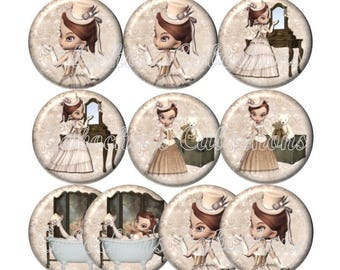 Set of 10 cabochons 25mm glass Victorian girl, ref ZC147