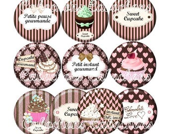 Set of 10 cabochons 25mm glass, cakes, cup cake, chocolate treats ZC184