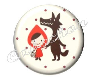 1 cabochon 30mm glass tale Red Riding Hood, Wolf