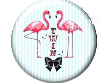 1 cabochon illustrated 30mm glass cabochon image Flamingo bird