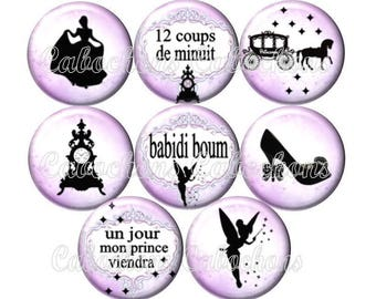 Set of 8 12mm glass cabochons, fairy tale Princess Cinderella, pink and black tone