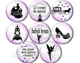 Set of 8 cabochons 25mm glass, Cinderella