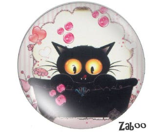 2 cabochons 18mm glass cat, pink ivory and black
