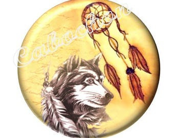 1 cabochon 30 mm glass, dreamcatcher dream catcher Indian Wolf