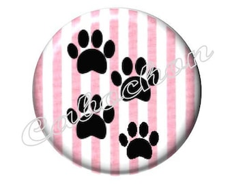 4 cabochons 16mm glass, cat paws, pink and black