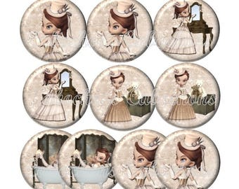 Set of 10 20mm glass Victorian girl, ref ZC147 cabochons