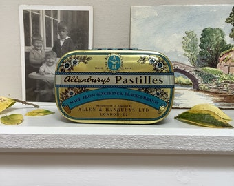 Vintage English Allenburys Blackcurrant Pastilles Candy Decorated Tin Storage Canister OTHERS AVAILABLE circa 1950/'s  English Shop
