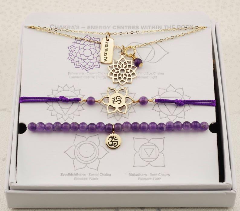 yoga jewelry Gold Amethyst Crown Chakra necklaces /& bracelets ohm symbol charm jewellery wellness jewellery gift purple amethyst bead