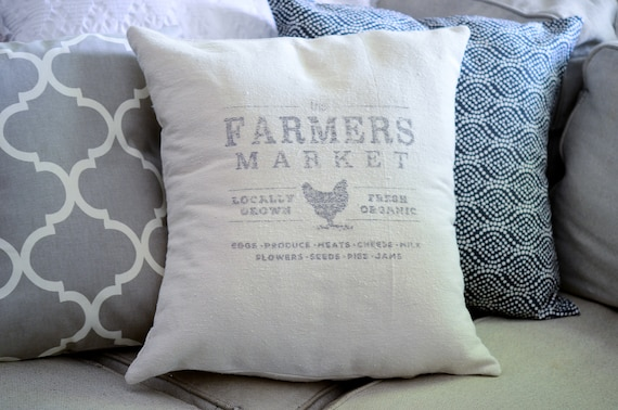grain sack pillows that say farmers market