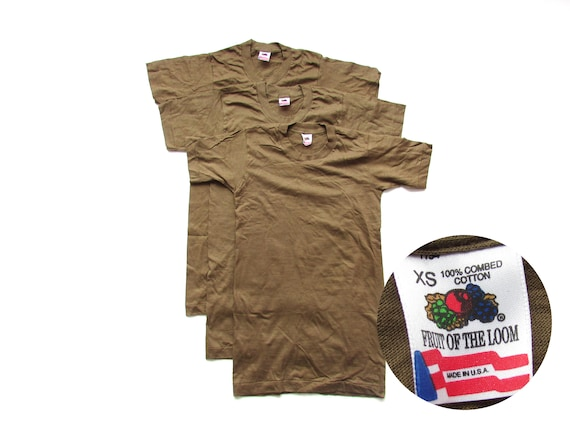 Size XS | 90s Vintage NOS Deadstock Fruit of the Loom Single Stitch Blank  Solid Brown T Shirt Made in USA