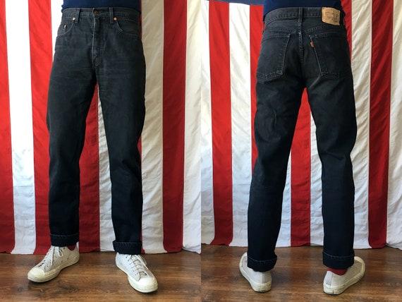 Size 34 | 90s Vintage Levis 615 Orange Tab Washed Faded Black Worn Denim Jeans Pants Trousers