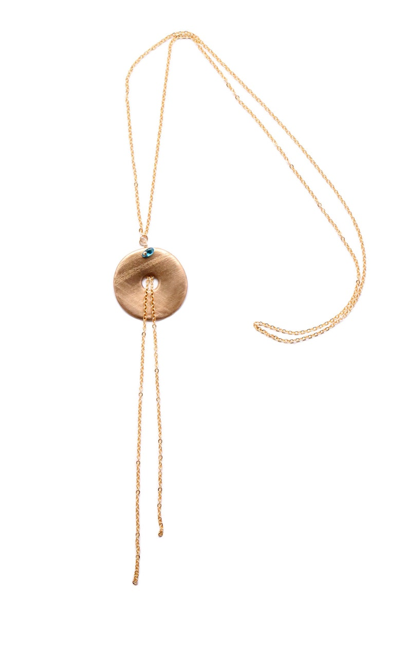 Hand-made long necklace with round massif bronze golden image 0