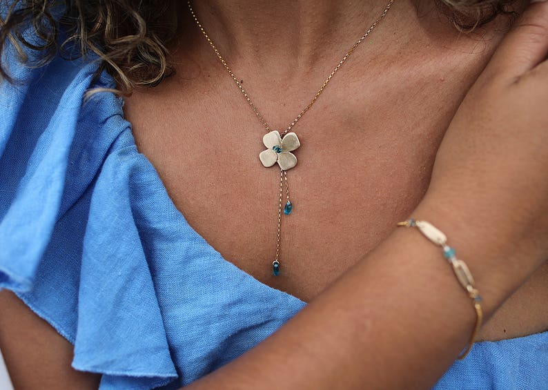 Hand-made solid golden bronze necklace with Clover image 0