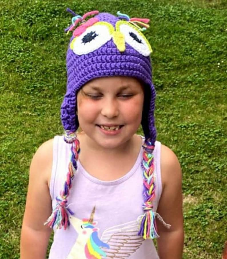 Crochet Owl Hat Earflap Hat Kid Owl Hat Crochet Animal Hat Can be Made in Any Size or Color Purple And Pink Owl Hat Toddler Hat