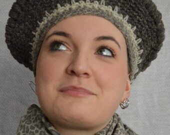 Organic wool colored, crocheted beret