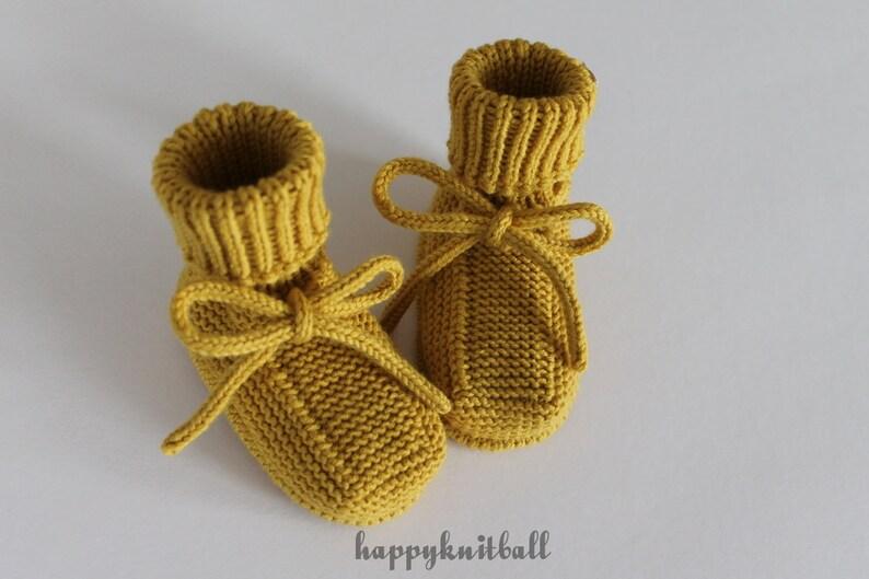 3727ce3c7128 Hand Knitted Mustard Baby Booties Newborn Knit Merino Wool