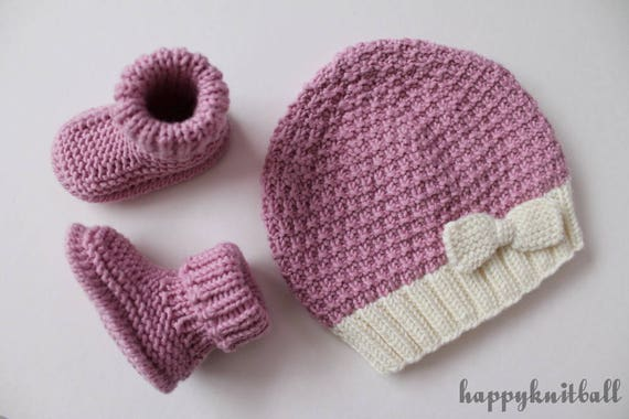 caf50fb7b37 Pink Knit Merino Newborn Bow Beanie and Booties Set Cable