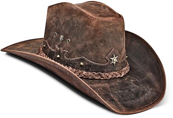Sombrero de vaquero de cuero de estilo australiano marr/ón occidental Faded Bush Hat