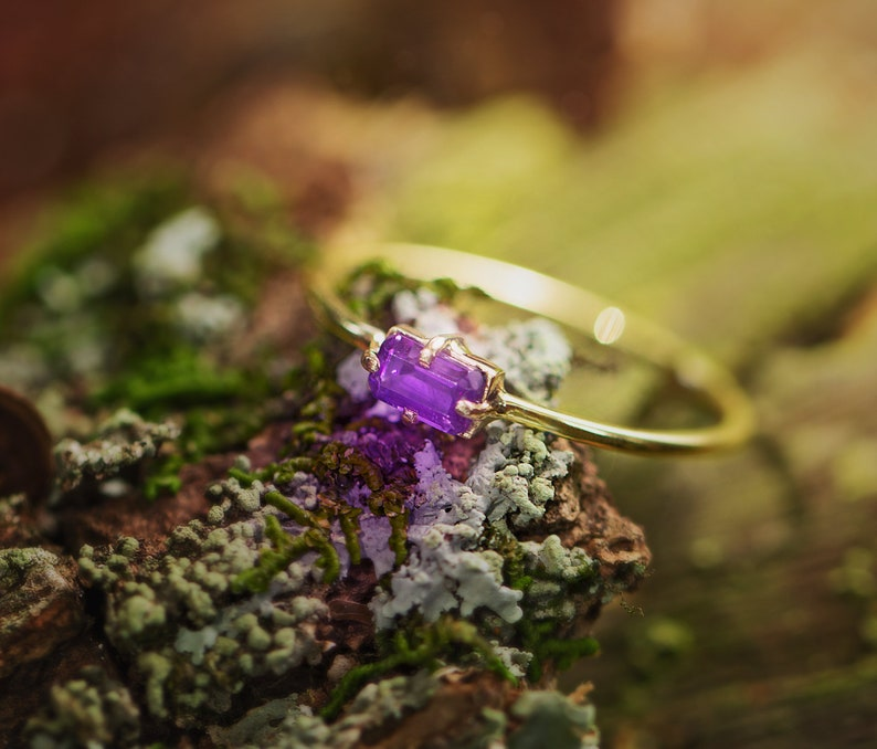 purple amethyst cz ring 18k solid gold gift for her girlfriend gift womens ring thin ring gold stackable ring minimalist ring