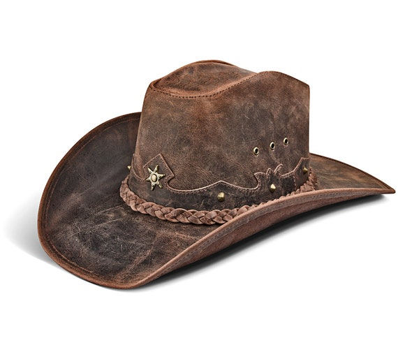 diversifiziert in der Verpackung Bestbewertete Mode schöner Stil Herren Cowboy-Hut westlichen Echtleder Hüte Texas Hut australische Hut Bush  Beige Braun Schwarz Sand Cowboyhut