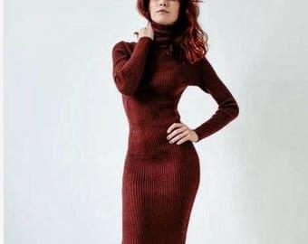Long knitted dress. dress for women. dress long sleeve. croshet dress. winter dress. dress knitted. dress hand made. gown.  Dress of wool