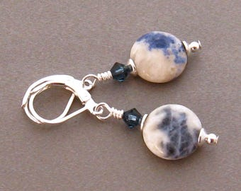 Denim Blue Earrings, Blue and White Natural Stone Earrings, Blue Stone Dangle Earrings, Sodalite Earrings, Blue Gemstone Earrings