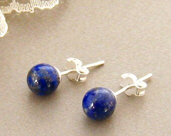 Lapis Lazuli Earrings Blue and Silver Boho Earrings DELAYED SHIP Sale Bodhisattva Earrings Dangle Ear Buddhist Jewelry Buddha Earrings