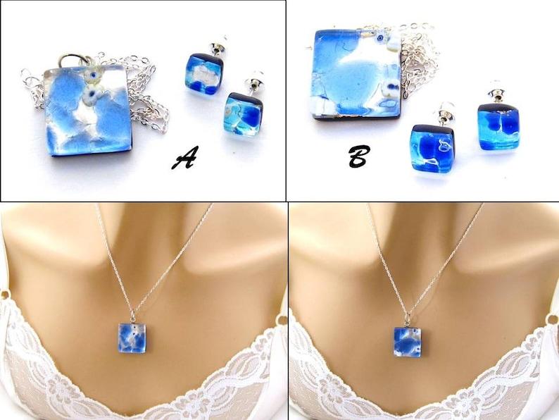 ae8cb8be630 Ensemble de bijoux bleu collier de verre vénitien bleu et