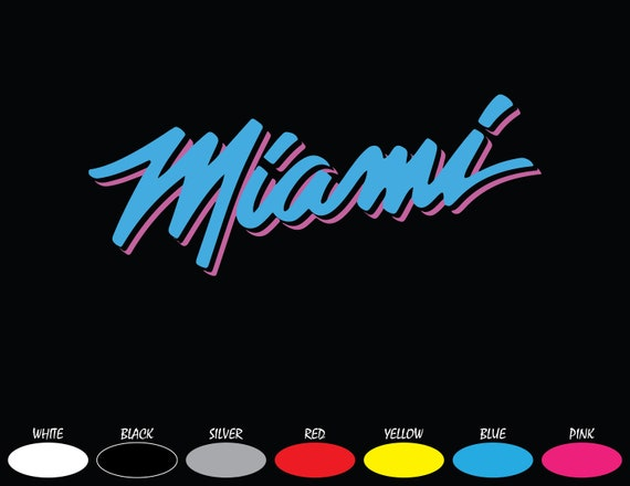 Miami Heat Vice City Logo Bumper Car Window Vinyl Decal Etsy