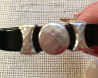 Black patent leather bracelet