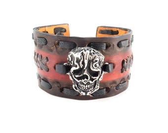 6a710ba00df96d Biker Leather Cuff - Genuine Cowhide Leather Bracelet with Silver Plated  Skull - Biker Bracelet for Men