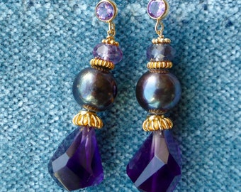 Black pearls with Amethyst and Alexandrite earrings