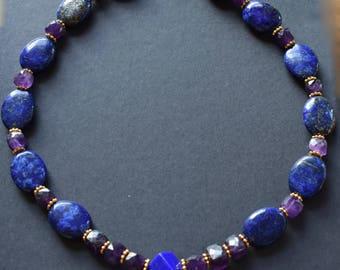 Lapis Lazuli,Amethyst beaded necklace with Vermeil findings and clasp.