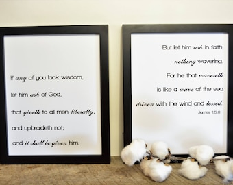If Any Lack Wisdom,SET,Scripture Verse,Inspirational Quote,Bible Verse,Farmhouse,Printable,8x10 Digital Download