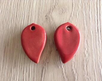 X 2 brick red ceramic leaf pendants