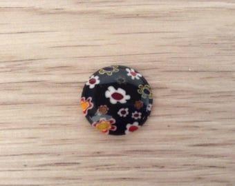 20 mm color black millefiori glass cabochon
