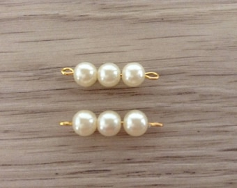 connectors x 2 imitation pearls mounted on metal Stud gold