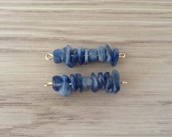 Stone kyanite 3,50 cm x 2 connectors mounted on metal Stud gold